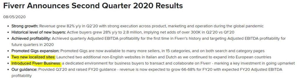 Fiverr Q2 expansion